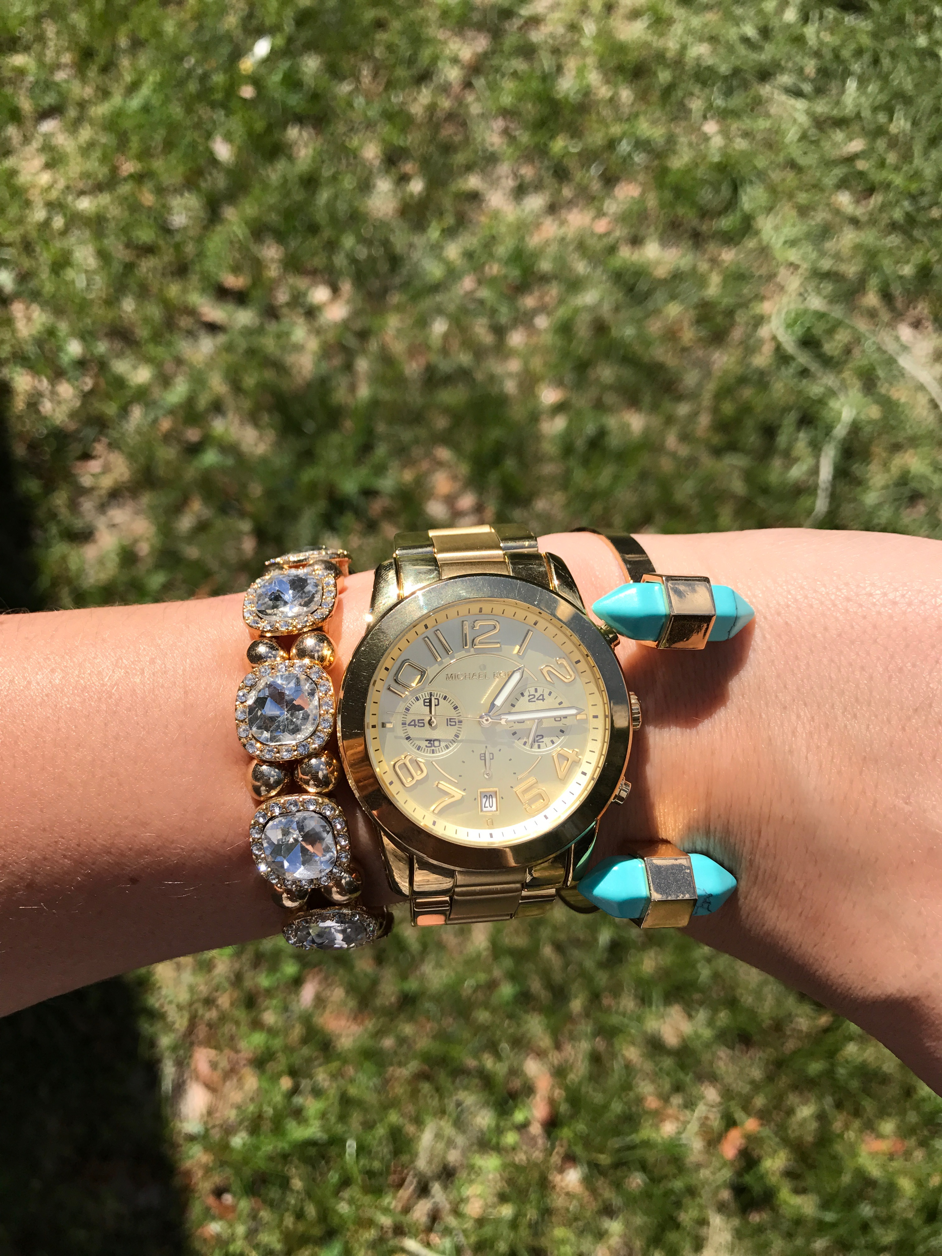GOLD WATCH AND STACKABLE BRACELETS
