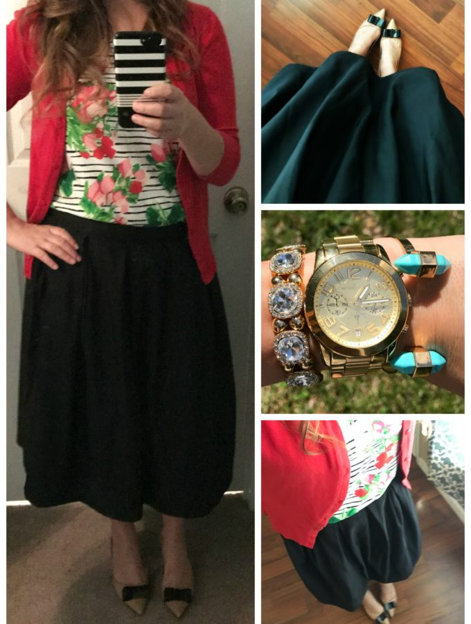 Striped Floral Top With Red Cardigan & Black Skirt